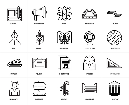 Set Of 20 icons such as History, Sharpener, Biology, Briefcase, Graduate, Scarf, Earth globe, Sheet music, Stapler, Pencil, Atom, web UI editable icon pack, pixel perfect