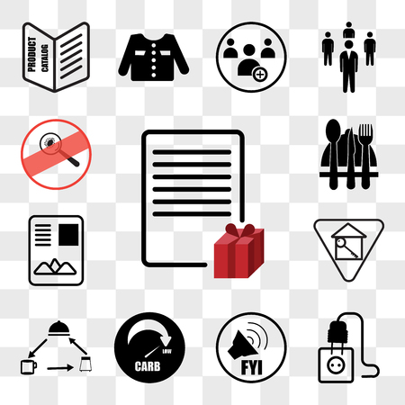Set Of 13 transparent editable icons such as wishlist, junction box, fyi, low carb, horeca, monopoly house, , antimicrobial, web ui icon pack, transparency set Illustration