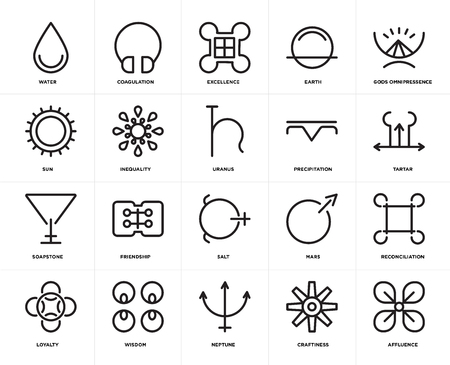 Set Of 20 simple editable icons such as Affluence, Tartar, Gods omnipressence, Earth, Loyalty, Coagulation, Mars, Sun, web UI icon pack, pixel perfect Vettoriali