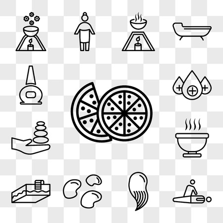Set Of 13 transparent icons such as Couple of half oranges, massage and spa, hair mineral stones, Swimming pool, Bath immersion, , web ui editable icon pack, transparency set