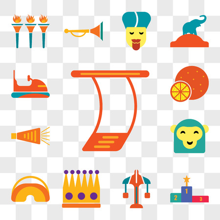 Set Of 13 transparent editable icons such as Trapeze, Podium, Carousel, Crown, Eye mask, Monkey, Noisemaker, Battle of oranges, Bumper, web ui icon pack, transparency set