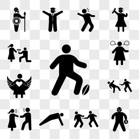 Set Of 13 transparent icons such as Man Playing Rugby, Masked Criminal Heist, Stab Wounds, doing push ups, Couple Arguing, Matrix Scene, web ui editable icon pack, transparency