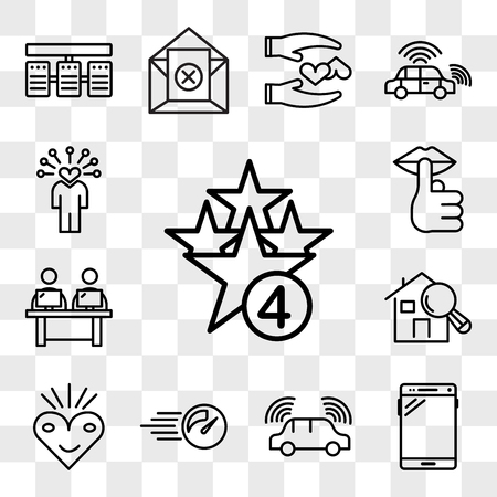 Set Of 13 transparent editable icons such as cod, , autonomous driving, pace, bliss, home inspector, coworking space, hush, soft skills, web ui icon pack, transparency set Stock Illustratie