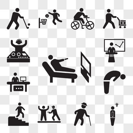 Set Of 13 transparent icons such as Man Lying and watching tv, Light bulb idea, Old man with hat walking cane, Police Arrest, descending stairs, web ui editable icon pack, transparency
