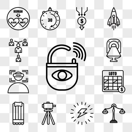 Satz von 13 transparenten bearbeitbaren Symbolen wie Diebstahlsicherung, Benchmarking, Energieversorgung, Vermesser, Luftmatratze, Loto, Immersion, CT, Mentoring, Web-UI-Symbolpaket, Transparenzsatz
