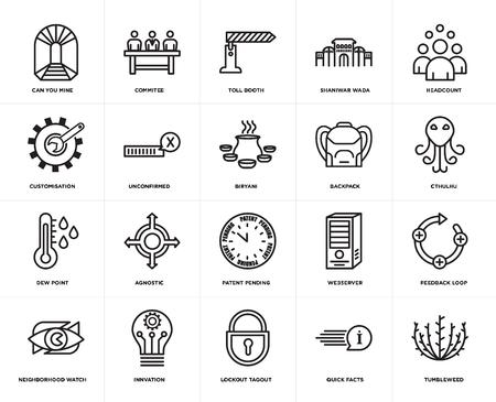 Set Of 20 simple editable icons such as tumbleweed, cthulhu, headcount, shaniwar wada, neighborhood watch, commitee, webserver, customisation, web UI icon pack, pixel perfect 일러스트