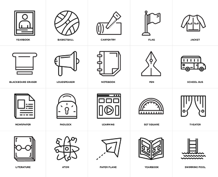 Set Of 20 icons such as Swimming pool, Yearbook, Paper plane, Atom, Literature, Jacket, Pen, Learning, Newspaper, Loudspeaker, Carpentry, web UI editable icon pack, pixel perfect