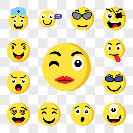 Set Of 13 transparent icons such as Kiss emoji, Cyclops Surprised Happy Hypnotized Cool Angry Tongue web ui editable icon pack, transparency set