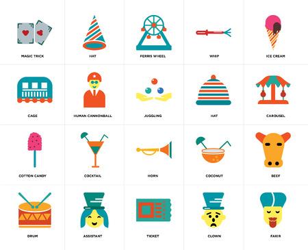 Set mit 20 Symbolen wie Fakir, Clown, Ticket, Assistent, Trommel, Eis, Hut, Horn, Zuckerwatte, menschliche Kanonenkugel, Riesenrad, bearbeitbares Symbol für die Web-Benutzeroberfläche, Pixel perfekt Vektorgrafik