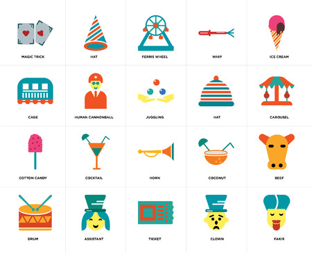 Set Of 20 icons such as Fakir, Clown, Ticket, Assistant, Drum, Ice cream, Hat, Horn, Cotton candy, Human cannonball, Ferris wheel, web UI editable icon pack, pixel perfect Vector Illustratie