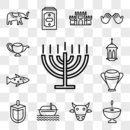 Set Of 13 transparent editable icons such as Big Menorah, Religion, Sac cow, Moses, Dreidel, Manna Jar, Fish, Islamic Lantern, Genie Lamp, web ui icon pack, transparency set Illustration