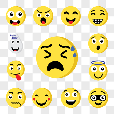 Set Of 13 transparent icons such as Nervous emoji, Thief Happy Muted Angel Tongue Surprised web ui editable icon pack, transparency set