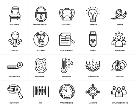 Set Of 20 icons such as employer branding, agnostic, patent pending, imei, net worth, jabber, dongle, dew point, unconfirmed, latex free, Backpack, web UI editable icon pack, pixel perfect