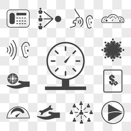 Set van 13 transparante pictogrammen zoals parkeermeter, videoweergave, werknemersbetrokkenheid, kilometerstand, vaste prijs, maatschappelijk verantwoord ondernemen, bewerkbaar pictogrampakket voor web ui, transparantieset