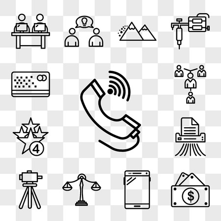 Set Of 13 transparent editable icons such as tele, capital expense, , benchmarking, surveyor, shding, cod, mentorship, punch card, web ui icon pack, transparency set