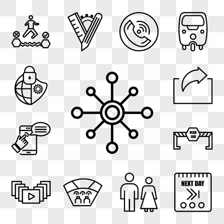 Set Of 13 transparent editable icons such as multichannel, next day, family law, cockpit, video gallery, dead end, self help, irect, cybersecurity, web ui icon pack, transparency set Illustration