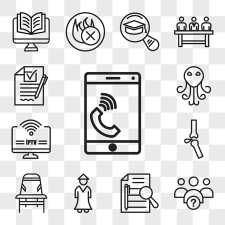 Set Of 13 transparent editable icons such as celphone, why us, executive summary, sensei, Desk chair, ortho, iptv, cthulhu, rfp, web ui icon pack, transparency set