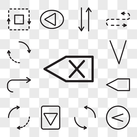 Set Of 13 transparent editable icons such as Backspace, Left arrow, Spin, Down Backward, Return, web ui icon pack, transparency set Vectores