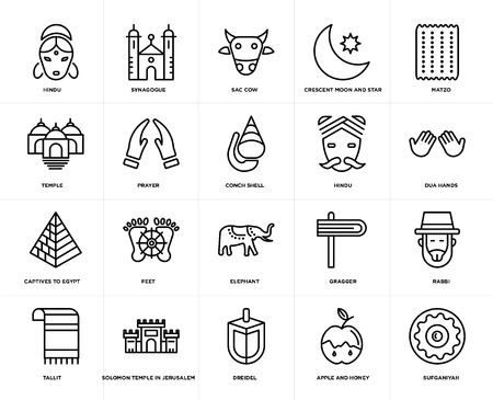 Set Of 20 simple editable icons such as Sufganiyah, Dua Hands, Matzo, Crescent Moon and Star, Tallit, Synagogue, Gragger, Temple, web UI icon pack, pixel perfect