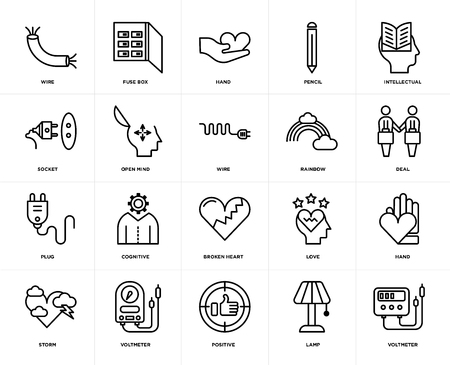 Set Of 20 icons such as Voltmeter, Lamp, Positive, Storm, Intellectual, Rainbow, Broken heart, Plug, Open mind, Hand, web UI editable icon pack, pixel perfect