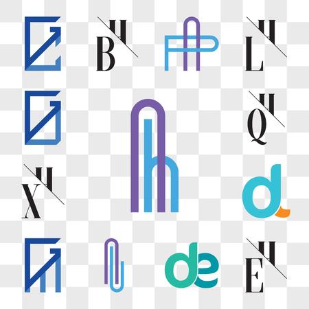 Set Of 13 transparent editable icons such as Ah or hA Letter, EH, HE, de, ed, Al lA GM, MG, dl, ld, XH, HX, QH, HQ, GU, UG, web ui icon pack, transparency set Ilustração
