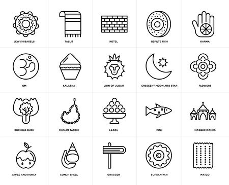 Set Of 20 simple editable icons such as Matzo, Flowers, Karma, Gefilte Fish, Apple and Honey, Tallit, Om, web UI icon pack, pixel perfect