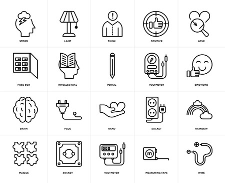 Set Of 20 icons such as Wire, Measuring tape, Voltmeter, Socket, Puzzle, Love, Hand, Brain, Intellectual, Think, web UI editable icon pack, pixel perfect