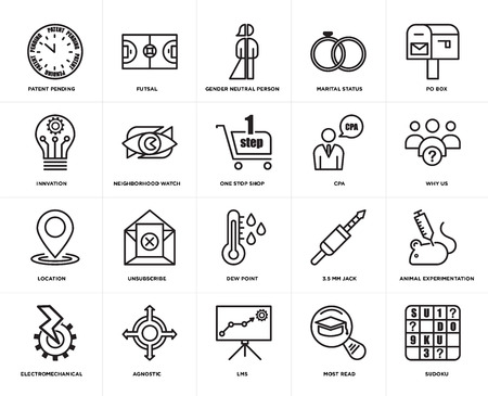 Set Of 20 icons such as sudoku, most read, lms, agnostic, electromechanical, po box, cpa, dew point, location, neighborhood watch, gender neutral person, web UI editable icon pack, pixel perfect
