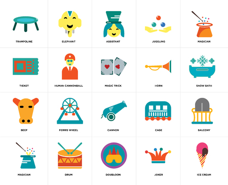 Set Of 20 icons such as Ice cream, Joker, Doubloon, Drum, Magician, Horn, Cannon, Beef, Human cannonball, Assistant, web UI editable icon pack, pixel perfect Vektorové ilustrace