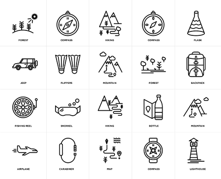Set Of 20 icons such as Lighthouse, Compass, Map, Carabiner, Airplane, Flask, Forest, Hiking, Fishing reel, Flippers, web UI editable icon pack, pixel perfect