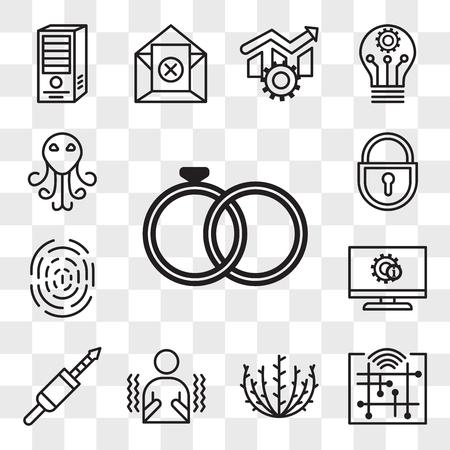 Set Of 13 transparent editable icons such as marital status, digitalisation, tumbleweed, shivering, 3.5 mm jack, itsm, fingerprint, lockout tagout, cthulhu, web ui icon pack, transparency set