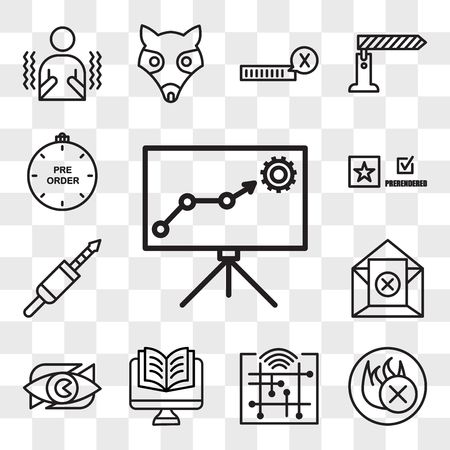 Set Of 13 transparent editable icons such as lms, fire retardant, digitalisation, Studies, neighborhood watch, unsubscribe, 3.5 mm jack, prerende, preorder, web ui icon pack, transparency set