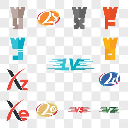 Set Of 13 transparent editable icons such as LV, VU or UV, VS, Zo oZ, Xe, zd dz, Xz, WD, WJ, web ui icon pack, transparency set Ilustração