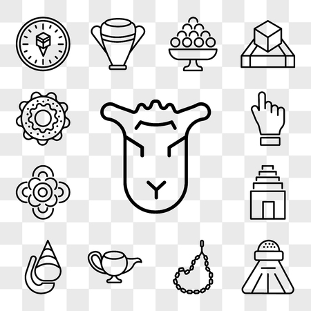 Set Of 13 transparent editable icons such as Lamb of God, Religious Salt, Muslim Tasbih, Genie Lamp, Conch shell, Temple, Flowers, One Jewish Bagels, web ui icon pack, transparency set