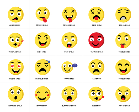 Set Of 20 simple editable icons such as Angry emoji, Tongue Drool Dead Surprised Sad Whistle web UI icon pack, pixel perfect Stock Vector - 111892106