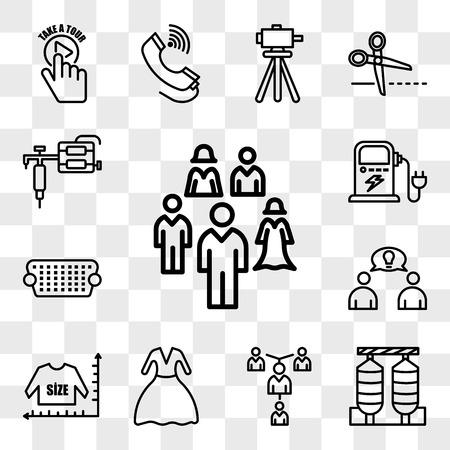 Set Of 13 transparent editable icons such as, silos, mentorship, prom, size chart, founder, vga, ev charging, tattoo gun, web ui icon pack, transparency set
