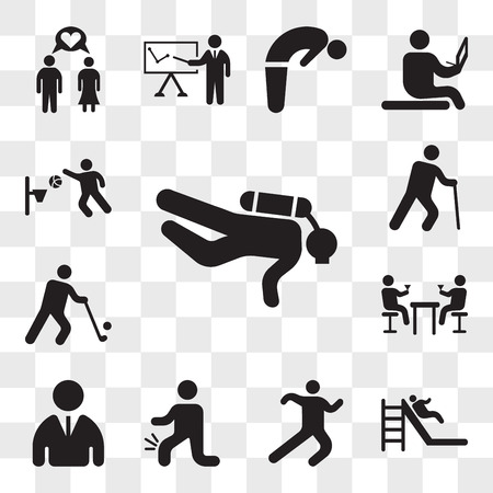 Set Of 13 transparent icons such as Diver, Slide, Athlete running, Men with Knee pain, User, Couple of men drinking in a bar, Golfer, Old man cane, web ui editable icon pack, transparency set