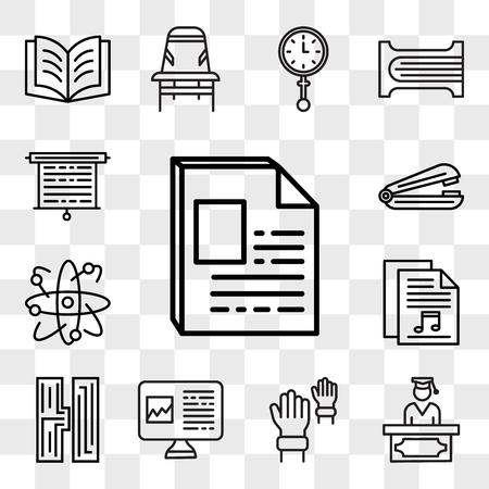 Set Of 13 transparent editable icons such as Newspaper, Graduate, Hands, Computer, High school, Sheet music, Atom, Stapler, Screen, web ui icon pack, transparency set