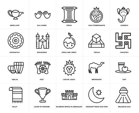Set Of 20 simple editable icons such as Religious Salt, Swastica, Ganesha, Half Pomegranate, Tallit, Dua Hands, Dromedary, Sufganiyah, web UI icon pack, pixel perfect Foto de archivo - 106808309