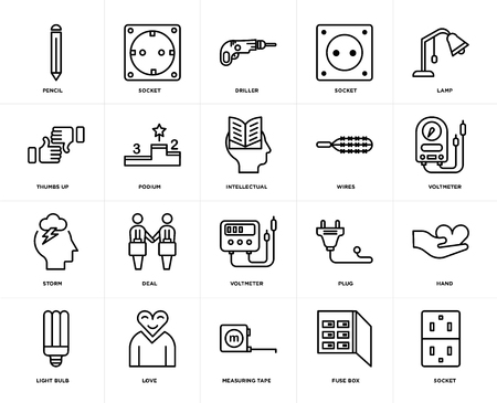 Set Of 20 icons such as Socket, Fuse box, Measuring tape, Love, Light bulb, Lamp, Wires, Voltmeter, Storm, Podium, Driller, web UI editable icon pack, pixel perfect