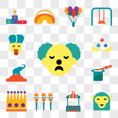 Set Of 13 transparent editable icons such as Clown, Monkey, Stall, Flambeaux, Crown, Magic trick, Elephant, Juggling, Fakir, web ui icon pack, transparency set Vectores