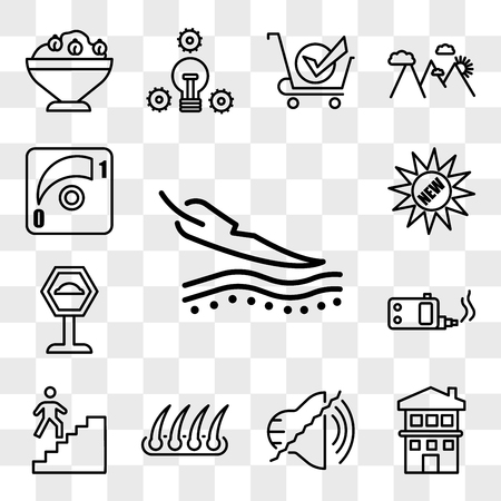 Set Of 13 transparent editable icons such as sensitive skin, two story house, noise uction, hair transplant, stairwell, ecig, speed bump, new, dimmer, web ui icon pack, transparency set