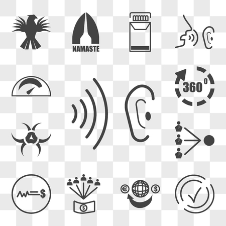 Set Of 13 transparent editable icons such as whisper, compliant, remittance, employee benefits, fixed price, third party, quarantine, virtual tour, mileage, web ui icon pack, transparency set Stock Illustratie