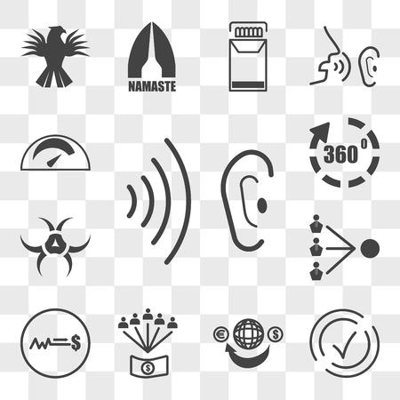 Set van 13 transparante bewerkbare pictogrammen zoals fluisteren, compliant, overmaking, personeelsbeloningen, vaste prijs, derde partij, quarantaine, virtuele tour, kilometerstand, web ui icon pack, transparantieset