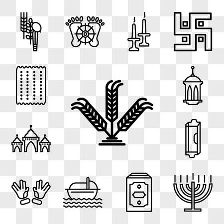 Set Of 13 transparent editable icons such as Israel Barley, Big Menorah, Holy Quran, Moses, Ohr, Mezuzah, Mosque Domes, Islamic Lantern, Matzo, web ui icon pack, transparency set
