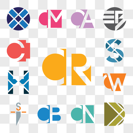 Set Of 13 transparent editable icons such as CR RC, D Letter, CN NC, CB BC, si is, CW, WC, H S CI IC, web ui icon pack, transparency set Illusztráció