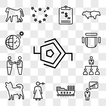 Set Of 13 transparent icons such as synapse, anticipation, barge, woman gender, chihuahua, delegation, brotherhood, chair top view, web ui editable icon pack, transparency set