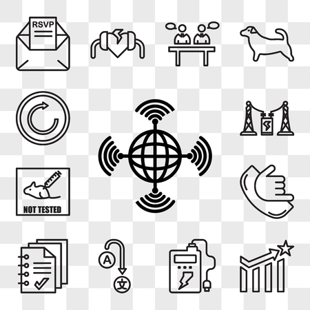 Set Of 13 transparent editable icons such as wan, efficacy, powerbank, change language, handout, call me, not tested on animals, substation, try again, web ui icon pack, transparency set