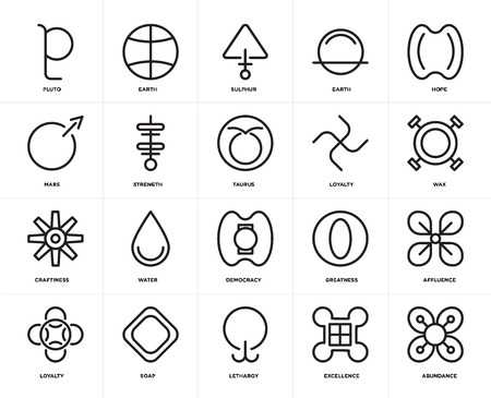 Set Of 20 icons such as Abundance, Excellence, Lethargy, Soap, Loyalty, Hope, Democracy, Craftiness, Strength, Sulphur, web UI editable icon pack, pixel perfect