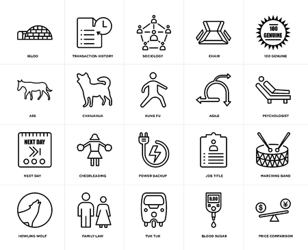 Set Of 20 simple editable icons such as price comparison, psychologist, 100 genuine, chair, howling wolf, transaction history, job title, ass, web UI icon pack, pixel perfect Illustration